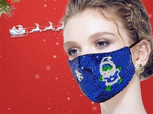 Christmas Bling Sequins Face Masks Ladies Party Dust proof reusable breathable fashion popular face mask by dhl