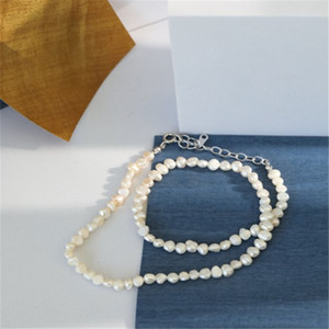 100% 925 Sterling Silver Jewelry Natural Irregular Freshwater Pearl Necklaces For Women Choker Necklace Wedding Party Gifts
