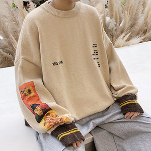 2020 Autumn Winter Tide Letter O Neck Sweater Men Loose Vintage Painting Embroidery Knitted Mens Pullover Sweaters Jersey Hombre J1204