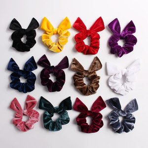 Solid Velvet Scrunchies For Women Good Quality Fabrics Knot Scrunchy Hair Tie For Pony Tail Soft Elastic Hair Bands Large Loops