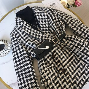 Winter jacket new Korean version with waist bag houndstooth woolen coat suit thick and loose 201125