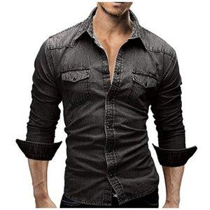 Camisa de mezclilla hombres camisa de mezclilla masculina hombres retro manga larga marca casual camisa hombre m-xxxl laipelar
