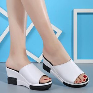 Koovan Women's Sandals 2020 New Summer Fashion Real Leather Slippers Sandals High-heeled Flats Casual Comfort Non-slip Shoes