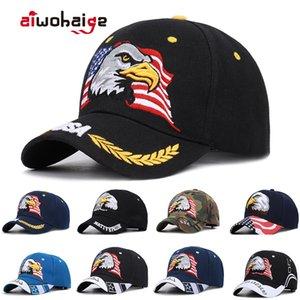 Neue Herren Tier Trucker Hut Patriotischer Kahler Eagle und Amerikanische Flagge Baseballkappe USA 3D Stickerei Farm Snap Zurück Snapback Knochen Q1206