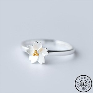 Trendy Girls 925 Sterling Silver Aesthetic Sakura Flower Shape Adjustable Open Finger Knuckle Rings Jewelry for Women