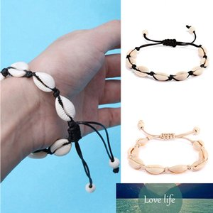 Bohomian Natural Shell Handmade Woven Bracelet for Women Femme Hawaiian Style Casual Black White Shell Chain Bracelet Jewelry