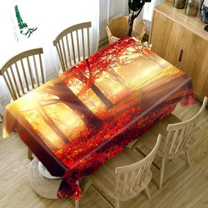 3D Maple Leaf Landscape Sunset Forest Tablecloth Dustproof Thicken Cotton Rectangular Round Table Cloth for Wedding Picnic Party