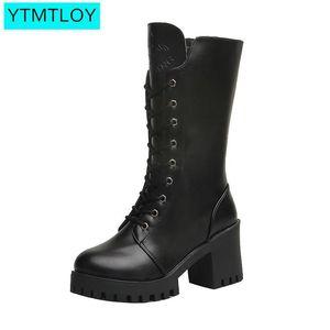 Ytmtloy 2020 venta caliente invierno otoño botas altas mujeres moda negro cuadrado tacón mujer zapatos de cuero invierno pu tamaño grande 41 C0203