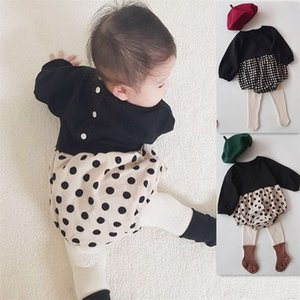 Korean Baby Bodysuits Minimalist Children's Clothes Cute Dot Butt-wrapped Jumpsuit Girl's Checked Jumpsuit 201216