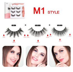 3 Pairs Magnetic Eyelashes False Lashes +Liquid Eyeliner +Tweezer Eye Makeup Set 3D Magnet False Eyelashes reusable No Glue Needed DHL