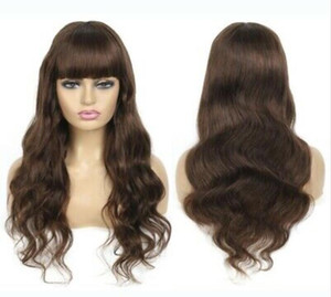Dark Brown Human Hair Wig with Bangs Body Wave Full Machine Wig with Fringe
