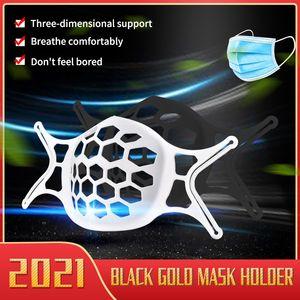 2021 Máscara de oro negro Soporte interno Silicona Desechable Mascarilla Mascarilla Soporte 3D Anti-Posticity Cross-Border Style