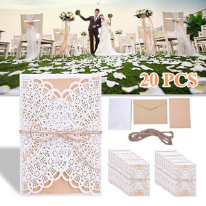 30 50Pcs set Laser Cut Wedding Invitations Cards +Tags Vintage Wedding Bridal Shower Gift Greeting Card Kits Event Party Supplie
