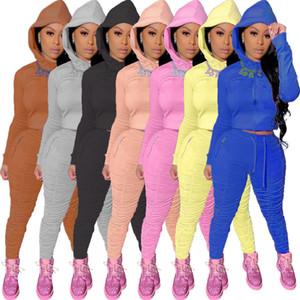2Pcs Set Women Winter Loungewear Tracksuit Lady Hoodies Sweatshirt Jogger Suit Slim Solid Colour Hooded Sweater Pants Ladies Sport Suits