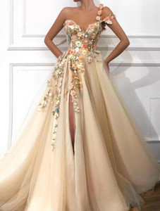 champagne cheap 2020 Colorful foral prom gowns sweetheart with spaghetti straps side slit lace applique evening gowns vestidos fiesta