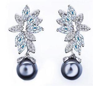 Freshwater Pearls Earrings Long Dropping Zircon Earrings Jewelry For Women Wedding Bride Jewelry Dress Ornament Drop Earrings Fashion Gift