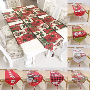 Table Runner 33*180cm Polyester Cotton Blended Santa Elk Snowflake Tablecloth Christmas Party Hotel Kitchen Decorations OWD763