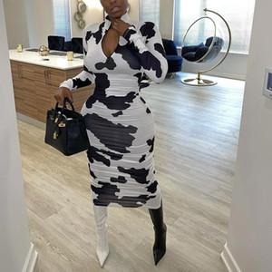Fixsys de manga larga cortada de vaca con estampado de vaca sexy Vestidos de Midi Hot Hot Women Fashion Club Partywear Flacny Hollow Out Bodycon Vestido Otoño