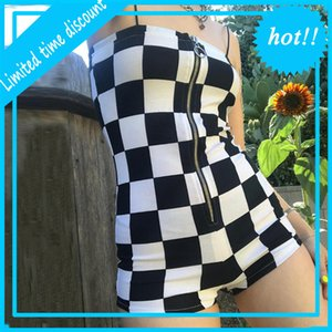 New Women's Wild Jumpsuit Fashion Home Ropa Zipper Negro Blanco Plaid Playsuits Ladies Ocio Ocio Modysuits