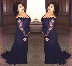 Drak Navy Plus Size Evening Dresses Long Sleeve Off Shoulder Lace Chiffon Floor Length Mermaid Women Fomal Party Dress Custom Made