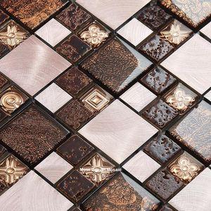 Brwon Coffee Stainless Steel Flower mixed Crystal Glass Mosaic Tiles for kitchen backsplash bathroom Liner wall sticker Retro