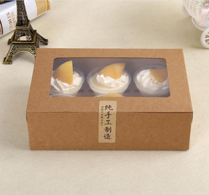 UB75FU Holders Paper Cupcake 6 Cup kraft Card Muffin Cake Boxes Dessert Portable Package Box Six Tray Gift Favor 1 N