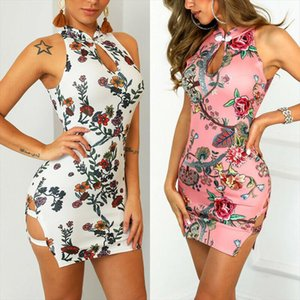 2019 Sexy Summer Women Dress Casual Nightclub Short sleeved Stretch Print Tight Dress Drop Shipping Good Quality