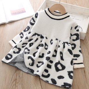Toddler Sweater Dress 2019 Kids Sweaters Winter Leopard Crystal Children Sweater Dress Toddler Dresses Sweater For Kids F1202