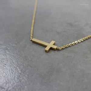 Кулон ожерелья из нержавеющей стали Corss Chars Gold Color Cross Подвески для женщин Простые Ювелирные Изделия Кристиан Иисус Религиозная вера Бижуса1