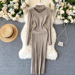 Sexy Cutout Elastic Knitted Sweater Dress Women Medium Long Autumn Winter Good Stretch Knitted Dress