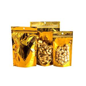 Altın fermuar alümineli ambalaj çantaları yeniden kapatılabilir mat / temizle kurutulmuş gıda saklama torbaları şeker koku geçirmez depolama fermuar çantası asmak deliği ile