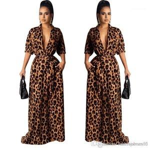 الخامس الرقبة نصف كم مثير الإناث الملابس الأزياء نمط عارضة الملابس إمرأة ليوبارد desinger فساتين ماكسي الخريف