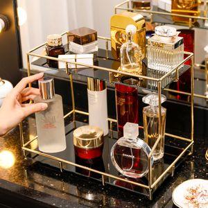 Nordic Luxury Makeup Organizer Jewelry Lipstick Perfume Storage Tray Large-Capacity Cosmetic Storage Box Desktop Finishing Shelf C0116