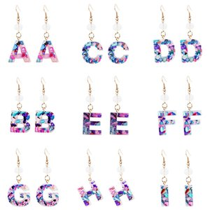 26 Alphabet Drop Earrings Gold Silver Color Micro Pave Letter Dangle Earrings for Women Girls Fashion Jewelry 300pairT1I2534