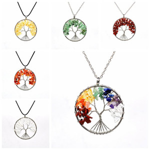 8 Colors Tree of Life Necklace Stone Beads Natural Amethyst Sterling-silver-jewelry Chain Choker Pendant Necklaces for Women Gift