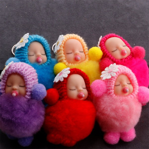 Nippel Puppe Keychain Sleeping Baby Schlüssel Schnalle Plüsch Handytasche Anhänger Nette Mode Flauschige Pelzschmuck Schmuck Verzierung Heißer Verkauf 2 7Qs M2