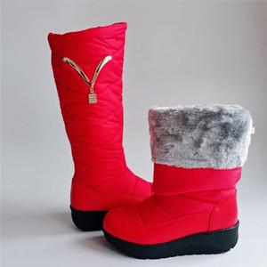 Waterproof Warm Fur Plush Down Snow Boots 2020 Winter Boots Women Mother Shoes Platform Fashion Casual Knee High Plus Size