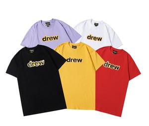Justin Bieber Drew House T Shirt Smile Drew Hip Hop Tee Fashion Mens Tshirt Mangas cortas Mangas cortas Oso impreso