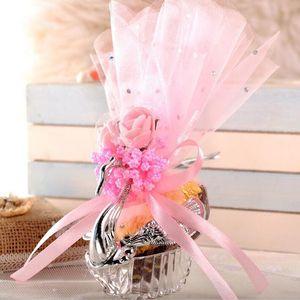 Caja de dulces de cisne acrílico plata elegante cisne boda caja de caramelo clásico romance colorido cisne caramelo caja de regalo DHF3585
