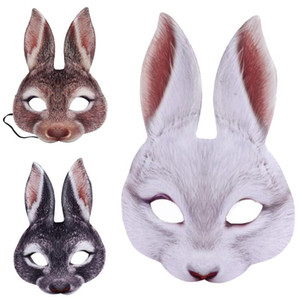 Bunny Mask Animal EVA Half Face Rabbit Ear Mask for Easter Halloween Party Mardi Gras Costume Accessory sea shipping DHB4540