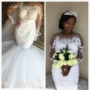 New Sexy Mermaid Wedding Dresses 2021 Sheer Neck Long Sleeves Lace Appliques Beaded Illusion Plus Size Black Girl Bridal Gowns Custom