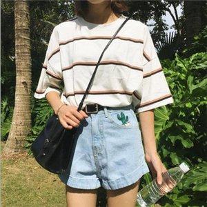 Womens T shirts Japan Harajuku Ladies Vintage Ulzzang Harajuku Bf Short sleeved Student Summer Tide Loose Stripe Top For Women