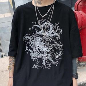 harajuku Short sleeved T shirt ins dragon print loose dropshipping streetwear top shirt vintage gothic stranger things mesh top