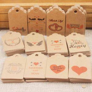 100pcs 5*3cm Handmade Tags Kraft Paper Card Gift Label Tag Handmade DIY Gift Wrapping Wedding Birthday Gift Card Decor FWA2557