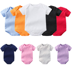 Solid Color One Piece Garment Short Sleeve Baby Climbing Onesies Jumpsuits Newborn Clothes Rompers Summer 7 9ak K2