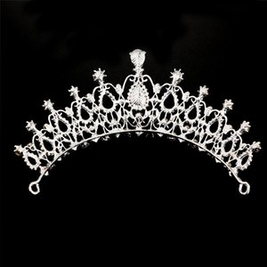 Luxury Rhinestone Beads Baroque Heart Bridal Tiara Crown Crystal Diadem Veil Tiaras Wedding Hair Accessories Headpieces