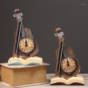 Résinité créative Livre Violon Shape Table Horloge Office Desktop Mute Quartz Horloge Home Salon Salon Cabinet Décoration Ornament1