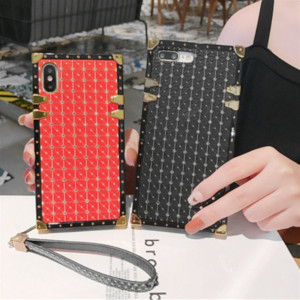 Luxury Square Rhinestone Fashion Defender Designer Women Phone Case For iPhone 11 PRO XS XR X MAX 8 7 6S Plus With Lanyard
