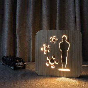 Humanoide Solid Wood grabado Oscar Pequeño Oro Hombre Decoración Decoración Fiesta de vacaciones Regalo 3D Luz decorativa noche Luz de madera Lámpara de mesa
