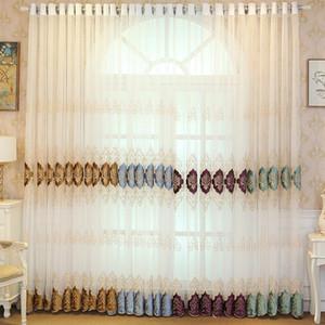 Modern Luxus bestickte Sheer Voile Vorhänge Fenster Drapes Cortina Für Wohnzimmer Tür Gold Spitze Vorhänge Tüll Windows Spitze